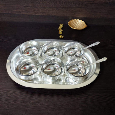 onesilver.in kumkum bharani S P 6pc Cup Tray set