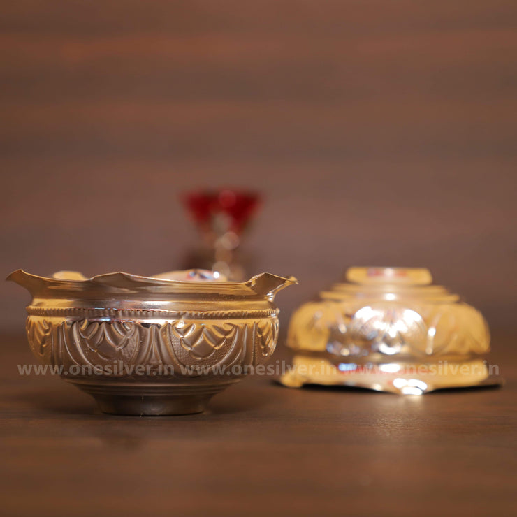 onesilver.in kumkum bowl Flower Kumkum Bowl pair