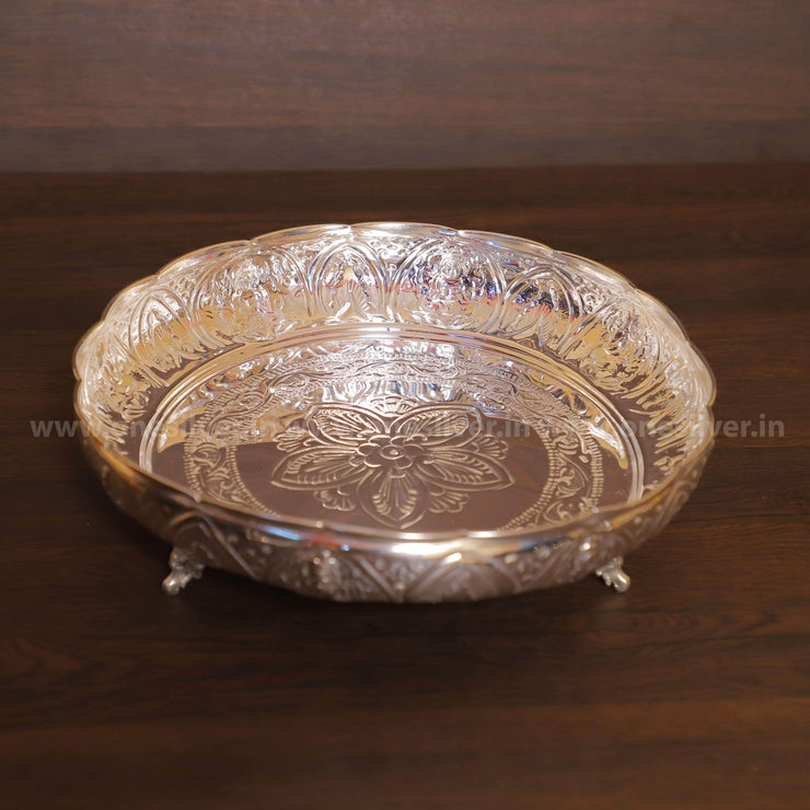 onesilver.in plate AstaLakshmi Pooja Plate With Stand 14""