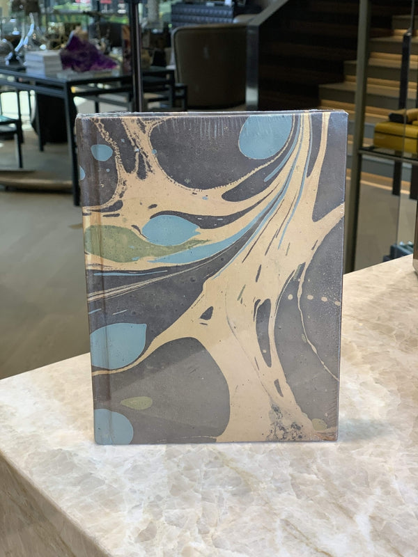 Marbleized Leather Journal - Aqua