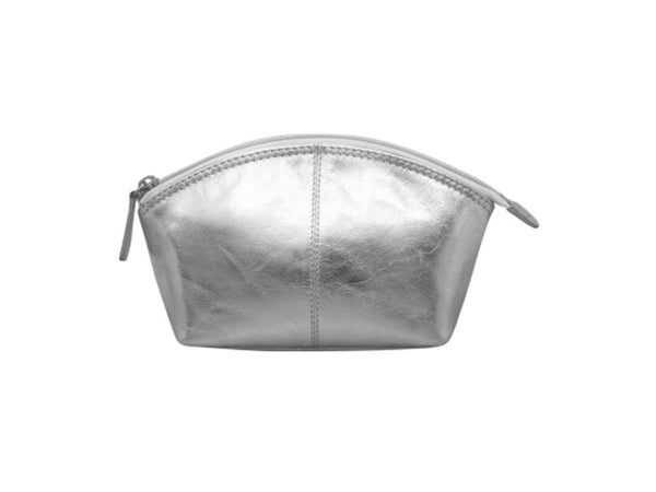 Leather cosmetic pouch with top zip. Interior- zip compartment silver