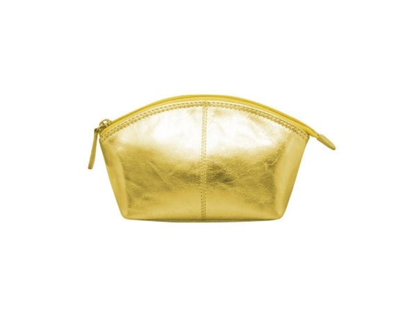 Leather cosmetic pouch with top zip. Interior- zip compartment gold