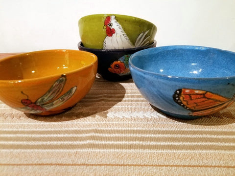 Colorful hand painted, glazed ceramics