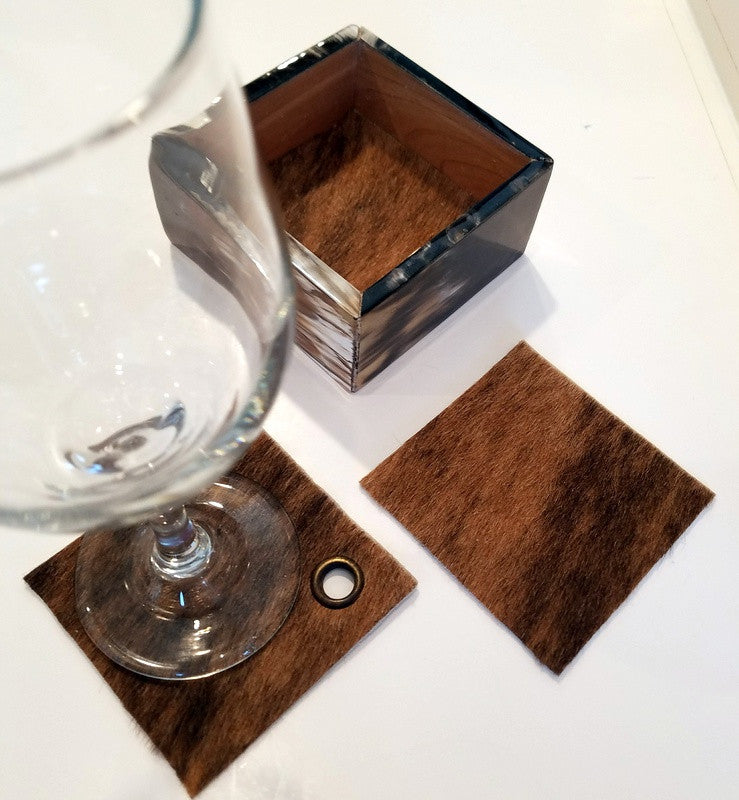 Unique Cowhide Coasters in Horn Box