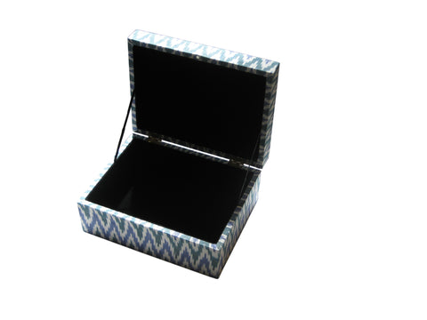 Large Ikat fabric covered hinge boxes