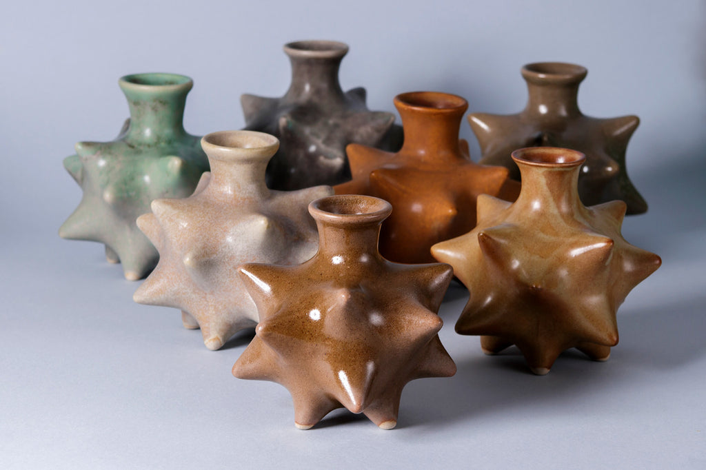 Spikey ceramic bottle vase