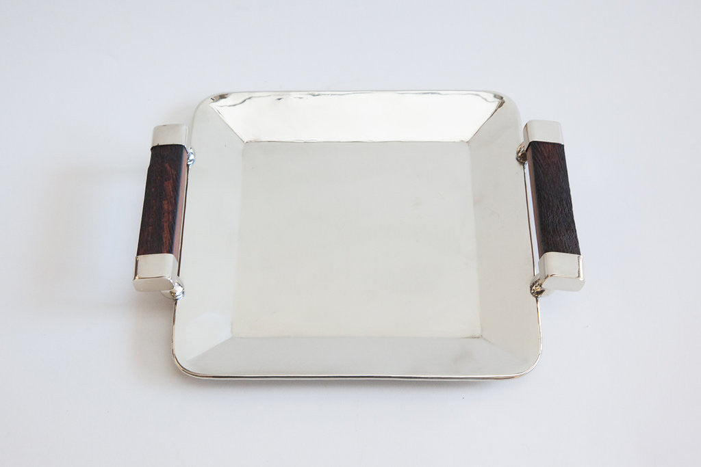 Large square silver tray with vintage wood handles