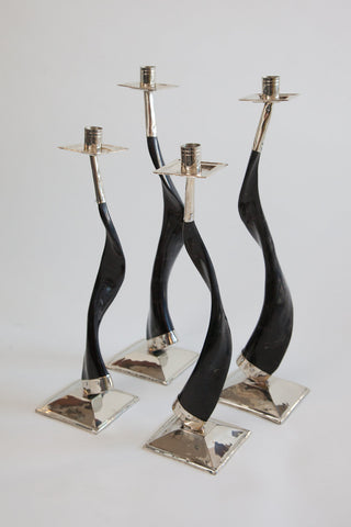 Alpaca silver and black goat horn candlesticks