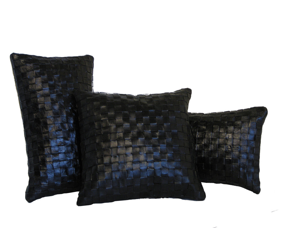 Woven leather pillows