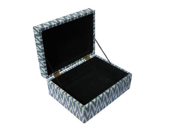 Ikat Fabric Covered Hinge Boxes