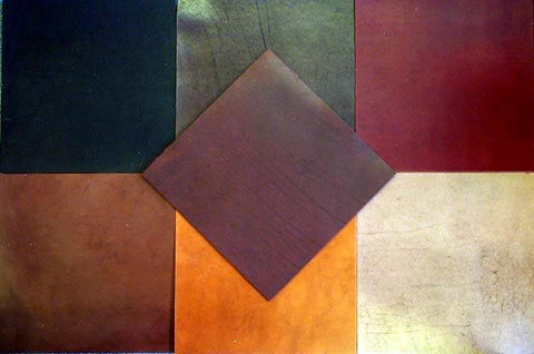 Leather and suede magnetic tiles for floor or wall surface