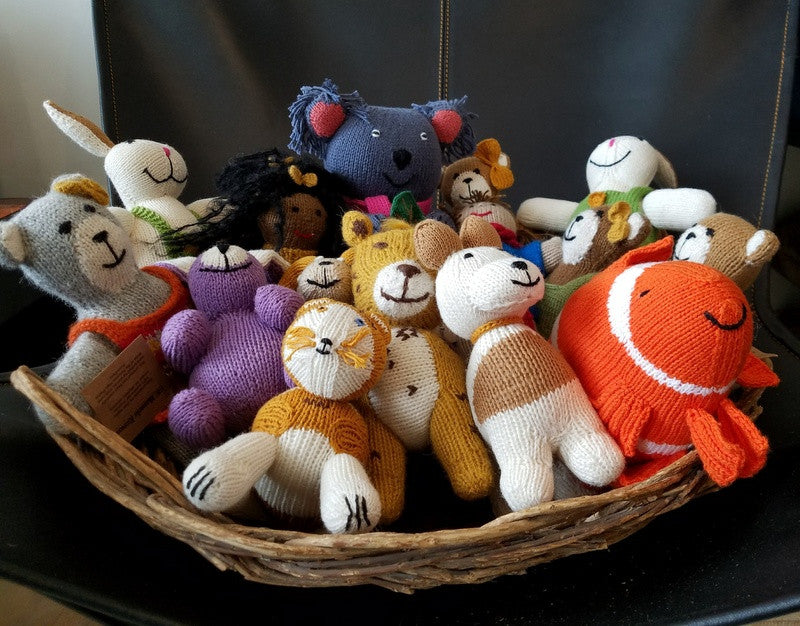 Hand knitted stuffed toys