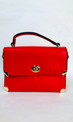TEXTURED MINI FLAP SATCHEL BAG (RED)