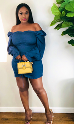 BLUE RUCHED OFF THE SHOULDER MINI DRESS
