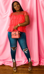 LILLY FRILLY TOP-(CORAL)