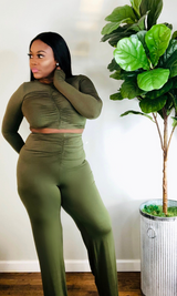 OLIVE LONG SLEEVE RUCHED PANT SET
