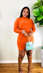 RUST LONG SLEEVE RUCHED DRESS