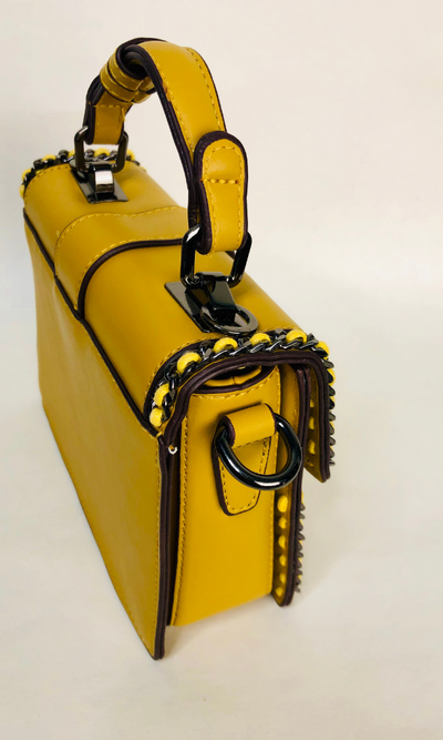 MINI FLAP TOP HANDLE BAG (MUSTARD)
