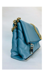 BLUE QUILTED GOLD CHAIN BAG
