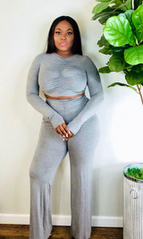 GREY LONG SLEEVE RUCHED PANT SET