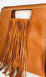 TAN FRINGE HOBO BAG