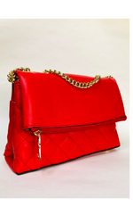 RED QUILTED GOLD CHAIN BAG