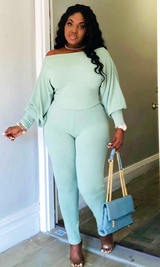 COLD SHOULDER KNITTED LEGGINGS SET-(MINT)