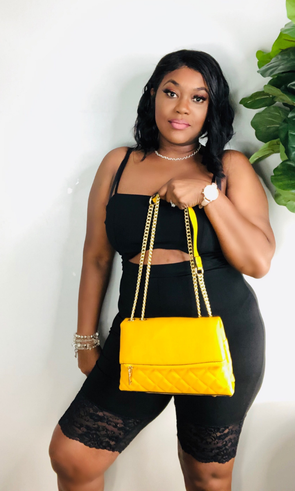 MUSTARD QUILTED GOLD CHAIN BAG