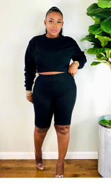 BLACK RIBBED LONG SLEEVE BIKER SHORTS SET