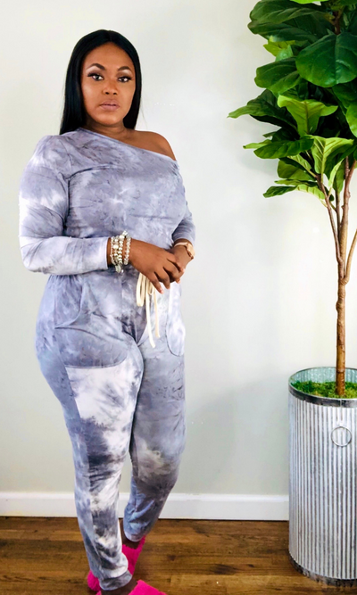 GREY TIE DYE OFF THE SHOULDER JUMPSUIT