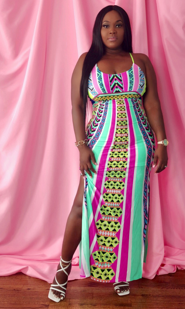 TRIBAL AZTEC PRINT MAXI DRESS- (AQUA BLUE)