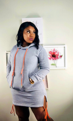 GREY HOODIE PULLOVER DRESS
