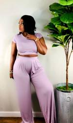 Lilac Crop Top Wide Leg Pants Set