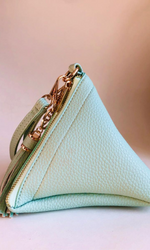 MINT GREEN WRISTLET PYRAMID BAG