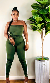 ON DA TRACK JUMPSUIT (OLIVE) - Shop Kloset Essentials