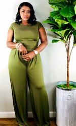 Olive Crop Top Wide Leg Pants Set