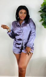 LILAC SATIN SHORTS PAJAMA SET