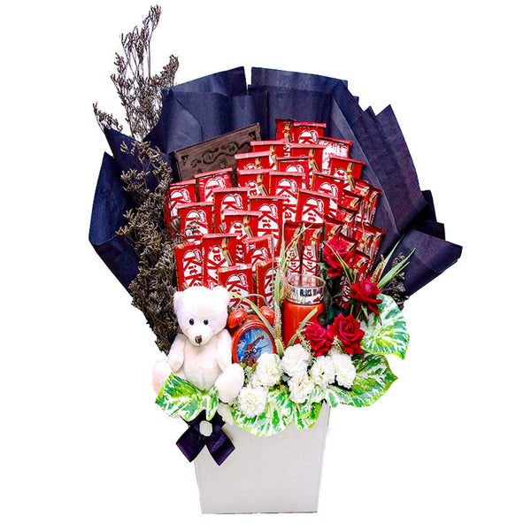KitKat Big Parcel with Bear By Blossoms - TCS Sentiments Express