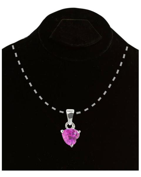 Silver Pink Heart Pendant - TCS Sentiments Express