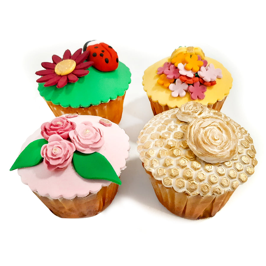Assorted Fondant Cupcakes - 4 PCS. BOX By Sweet Spoon - TCS Sentiments Express