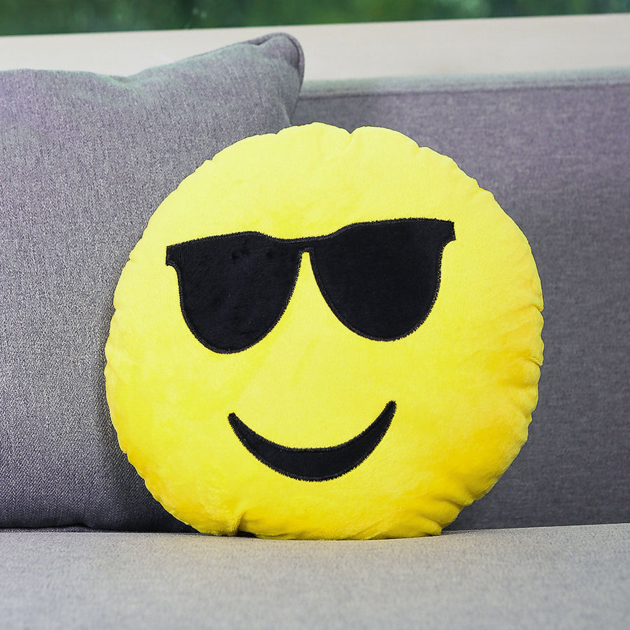 Smiling with Sun Glasses Emoji Cushion - TCS Sentiments Express