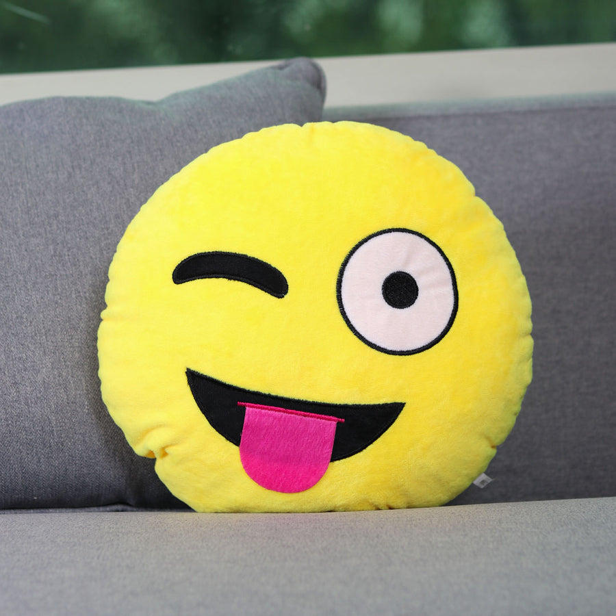 Tongue Out Winky Face Emoji Cushion - TCS Sentiments Express