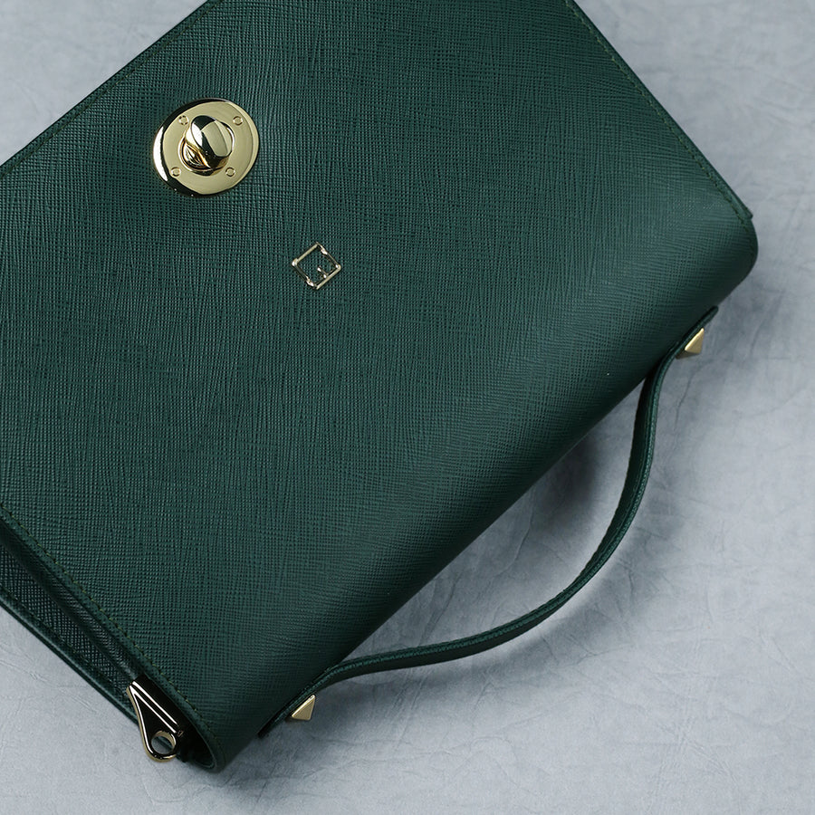 Crossbody Bag M Jafferjees Green and Gold - TCS Sentiments Express