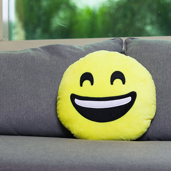 Smiling With Open Mouth Emoji Cushion - TCS Sentiments Express