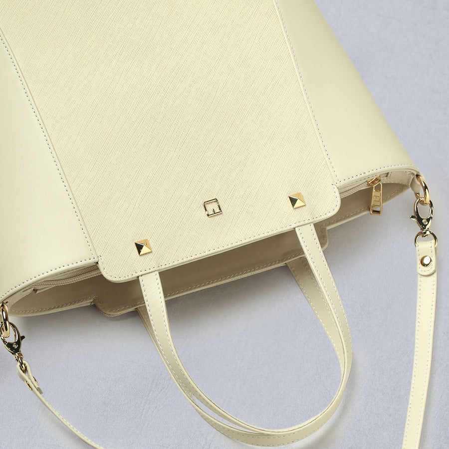 Ladies Handbag M Jafferjees Off white and Gold - TCS Sentiments Express