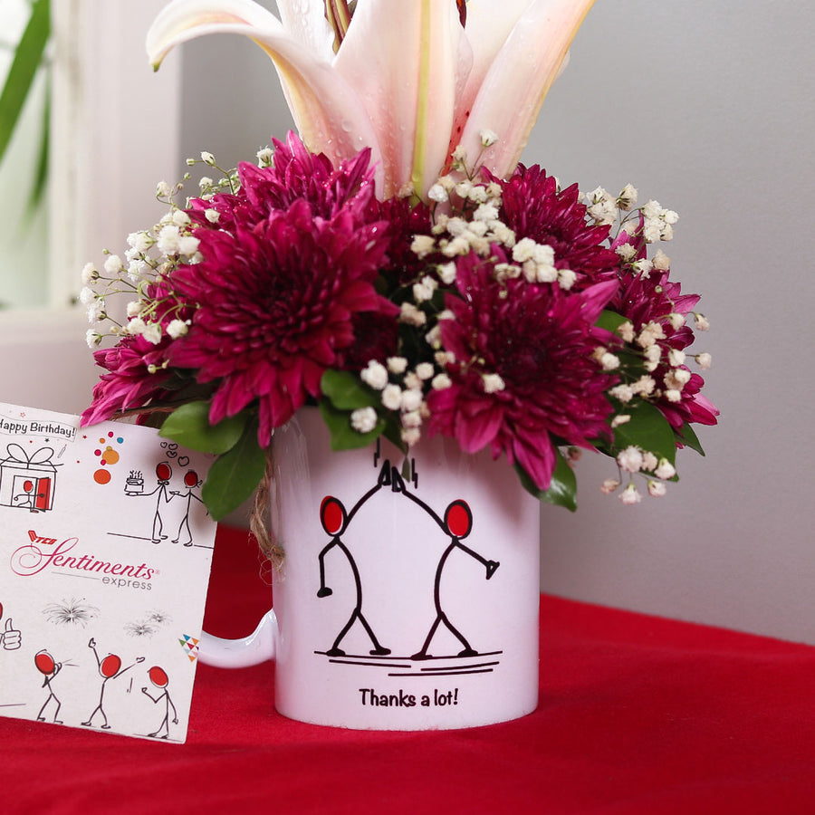 Thanks a Lot mug Flower Arrangement - TCS Sentiments Express