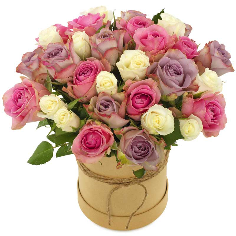 Sweet Roses in Hatbox - TCS Sentiments Express
