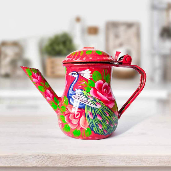 Hand Painted Teapot Red
