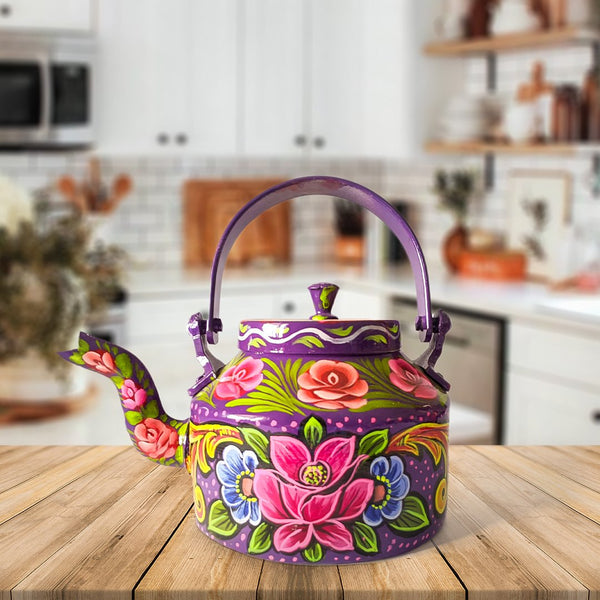 Hand Painted Family Teapot Purple