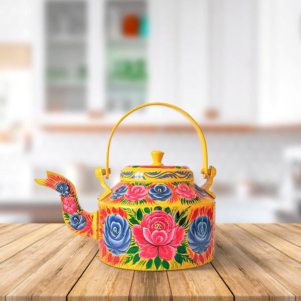 Hand Painted Family Teapot Yellow